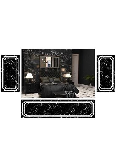 Soley Lateks Sungerli Yatak Odası Halı Seti Siyah